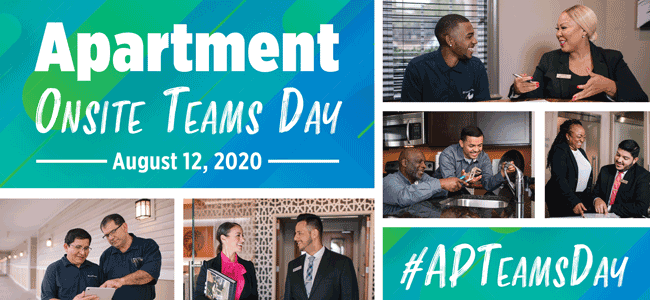 Don't Forget, Wednesday, August 12 is Apartment Onsite Teams Day